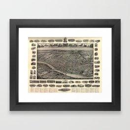 Vintage Pictorial Map of New Brunswick NJ (1910) Framed Art Print