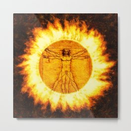 Fire of the Vitruvian Man by PB Metal Print