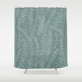 Round Eucalyptus Leaf Toss in Sage Green + Natural Shower Curtain