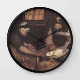 Anna Ancher - Two old people plucking gulls Wall Clock