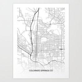 Colorado Springs CO Map White USA Art Print
