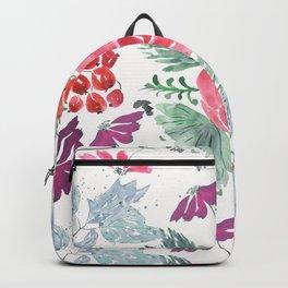 Watercolor flowers. Backpack