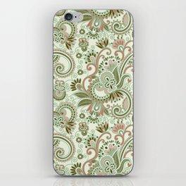 Oriental Persian Paisley, Swirls - Green Pink iPhone Skin