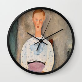 "Amedeo Modigliani ""Girl with a Polka-Dot Blouse (Jeune fille au corsage à pois)"" Wall Clock"