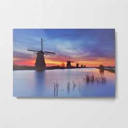 II - Traditional windmills at sunrise, Kinderdijk, The Netherlands Metal Print