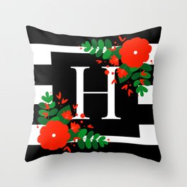 H - Monogram Black and White with Red Flowers Throw Pillow