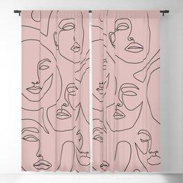 Blush Faces Blackout Curtain