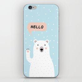 Cute Polar Bear in the Snow says Hello iPhone Skin