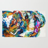 shih tzu Area & Throw Rugs featuring Colorful Shih Tzu Dog Art By Sharon Cummings by Sharon Cummings