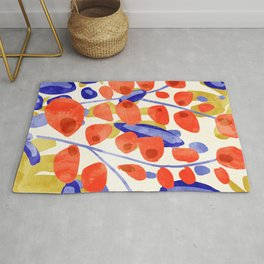 All Good Things Are Wild & Free, Bold Eclectic Abstract Botanical Watercolor Rustic Painting Rug