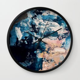 Sweetly: a bohemian, abstract work on paper in blue, pink, white, and gold Wall Clock