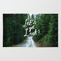 Let's get Lost! - Quote Typography Green Forest Rug
