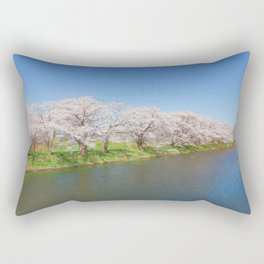Beautiful cherry blossoms and river Rectangular Pillow
