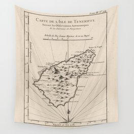 Vintage Tenerife Island Map (1764) Wall Tapestry
