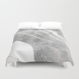 Marble - Silver Glitter on White Metallic Marble Pattern Duvet Cover