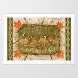 Three Deer In Meadow Art Print
