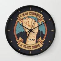 bioshock infinite Wall Clocks featuring Bioshock a man, a slave by sgrunfo