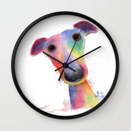 Nosey Dog Whippet / Greyhound ' HANK ' by Shirley MacArthur Wall Clock