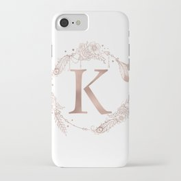 Letter K Rose Gold Pink Initial Monogram iPhone Case