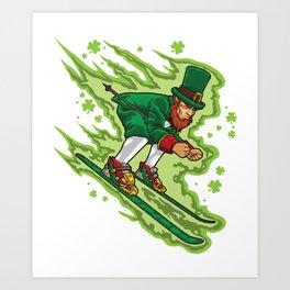 Skiing Leprechaun - Irish Mountain Winter Art Print