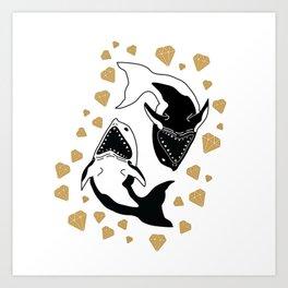 Shark Ying Yang Art Print