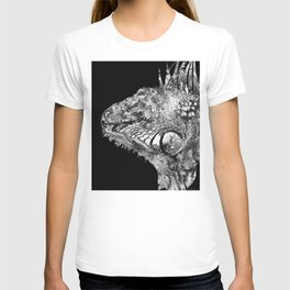 Black And White Iguana Art - One Cool Dude 2 - Sharon Cummings T-shirt