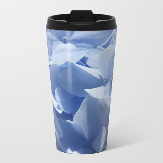 Blue hydrangea in LOVE- Flower floral Metal Travel Mug