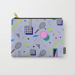 Seamless colorful pattern in retro style on grey background with tennis ball and tennis racket Carry-All Pouch