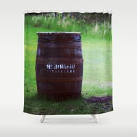 whiskey Shower Curtains featuring Whiskey Keg by gdesai
