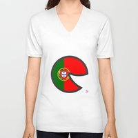 portugal V-neck T-shirts featuring Portugal Smile by onejyoo