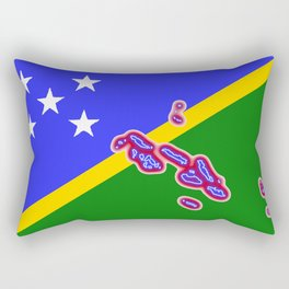 Solomon Islands Flag with Map of the Solomon Islands Rectangular Pillow