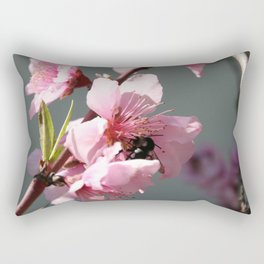 Unidentified Winged Insect On Peach Tree Blossom Rectangular Pillow