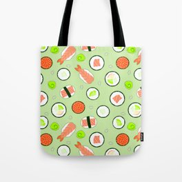 Cute Sushi Pattern Green  Tote Bag