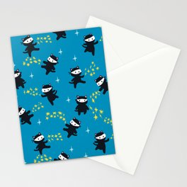 Ninja Cats Repeating Pattern on Blue Background Stationery Cards