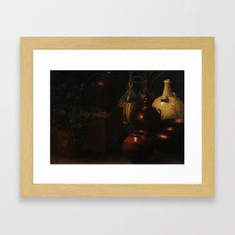 Rodolfo Simone, Da Lodi (17th Century) Still lifes, with jugs bottles and cooking equipment Framed Art Print