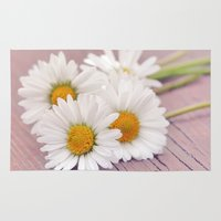 daisies Area & Throw Rugs featuring Daisies. by Mary Berg