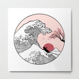 Sakura Tree spring fall Great Wave Metal Print