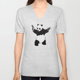 Banksy Pandamonium Armed Panda Artwork, Pandemonium Street Art, Design For Posters, Prints, Tshirts Unisex V-Neck