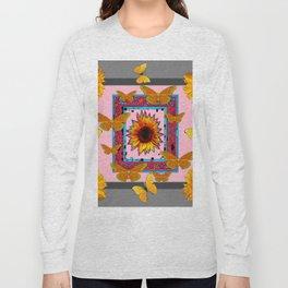 SOUTHWEST ART BUTTERFLIES SUNFLOWERS Long Sleeve T-shirt