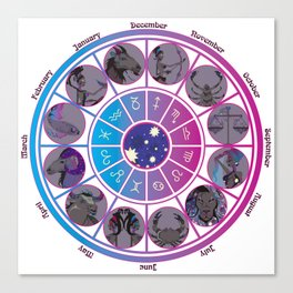 Starlight Zodiac Wheel Canvas Print