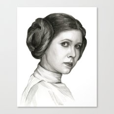Princess Leia Watercolor Painting Carrie Fisher Portrait Canvas Print