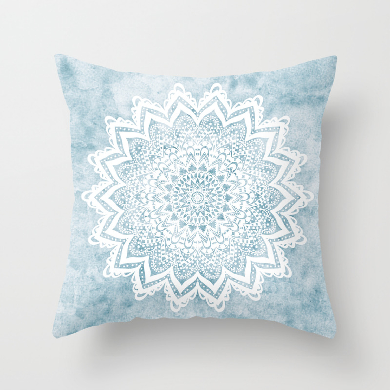 Light Blue Mandala Savanah Throw Pillow By Nika Society6