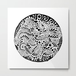 MARY ZOLES DESIGN - Düsseldorf - Abstract Black and White Ink Art Illustration Painting - (P12 282) Metal Print