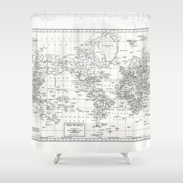 White World Map Shower Curtain