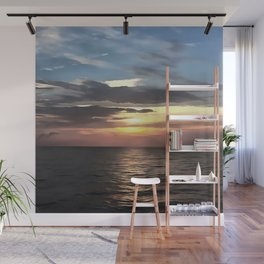 Pefect Living Coral Colored Ocean Sunrise Wall Mural