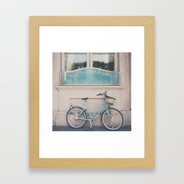 a mint green bicycle on the streets of Paris. Framed Art Print