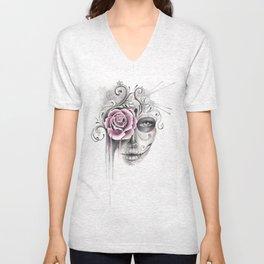Rose Sugar Skull Unisex V-Neck