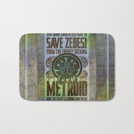 Save Zebes! Metroid Geek Art Vintage Poster Bath Mat