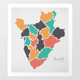 Burundi Map with states and modern round shapes Art Print