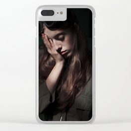 Woman in the dark Clear iPhone Case